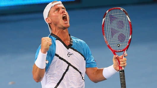 BRISBANE, AUSTRALIA - JANUARY 02:  Lleyton Hewitt of Australia celebrates winning his match against Feliciano Lopez of Spain during day five of the 2014 Brisbane International at Queensland Tennis Centre on January 2, 2014 in Brisbane, Australia.  (Photo by Chris Hyde/Getty Images)